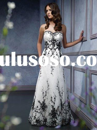 embroidered Lace black and white wedding gown NSW0885