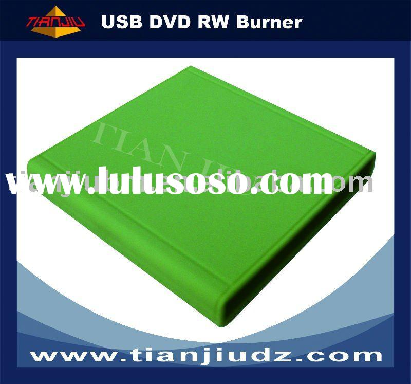 external USB DVD burner in green color