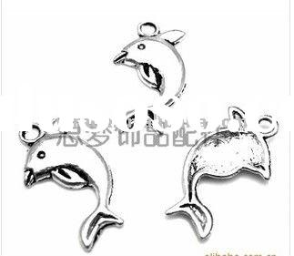 fashion Dolphin zinc alloy charms, jewelry findings,nickle and lead free