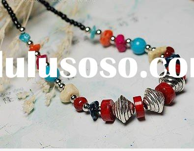 fashion design coral turquoise necklace