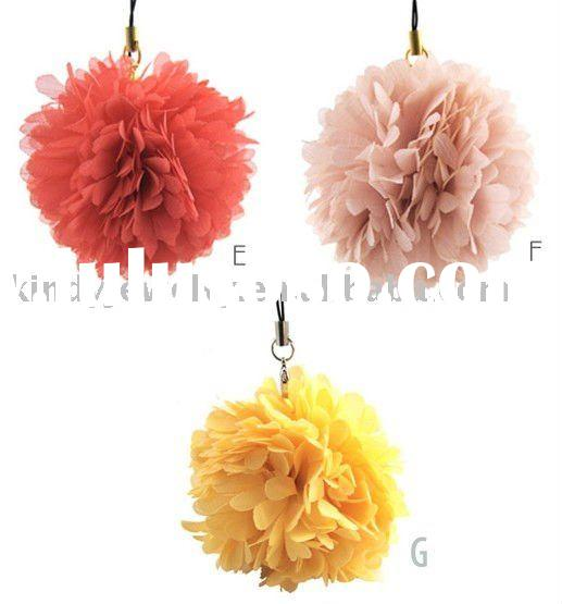 fashion fabric flower ball shape mobile phone accessory pendant jewelry