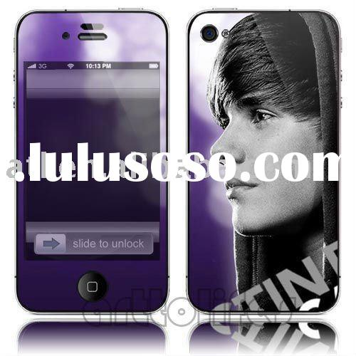 fashion promotinal gifts!Justin Bieber skin stickers For iphone 4G