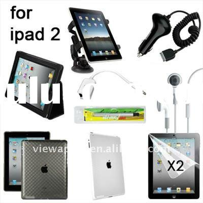for iPad 2 10 item accessory Leather Case, Charger, Car Holder bundle pack