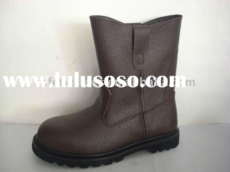 genuine leather rubber sole safety high boot