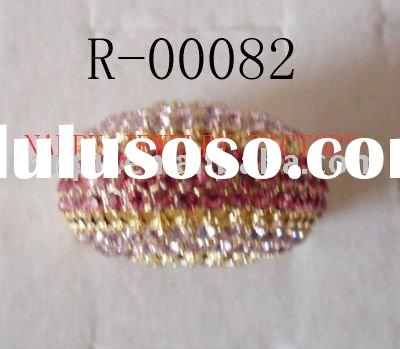 high fashion zinc-alloy gold mix color crystal and diamond ring
