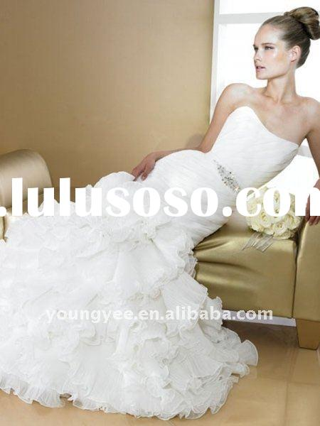 hot sales high quality organza romantic wedding dress, scoop neckline real sample wedding dress