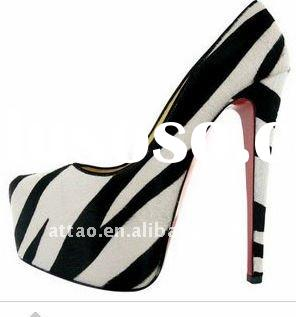 hot selling! zebra-stripe red sole platform shoes free shipping