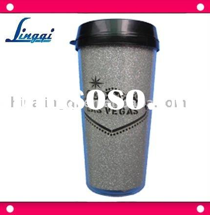 insulated plastic thermal coffee mug with customized poster paper / advertising mug with colorful pa