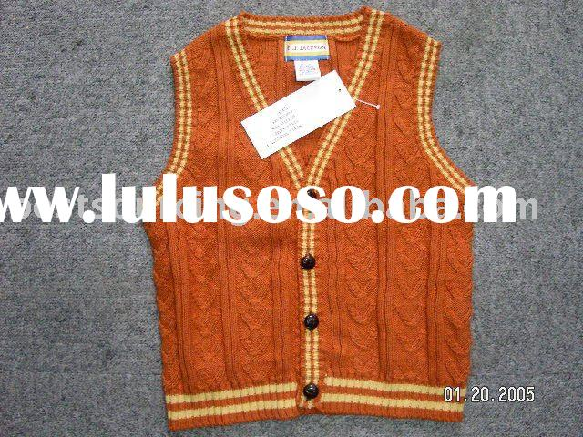kids wear clothing cotton 9gg knitted cable v neck sleeveless cardigan sweater boy's vest to