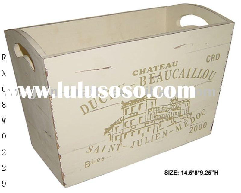 letter printed rectangle wooden planter with handle