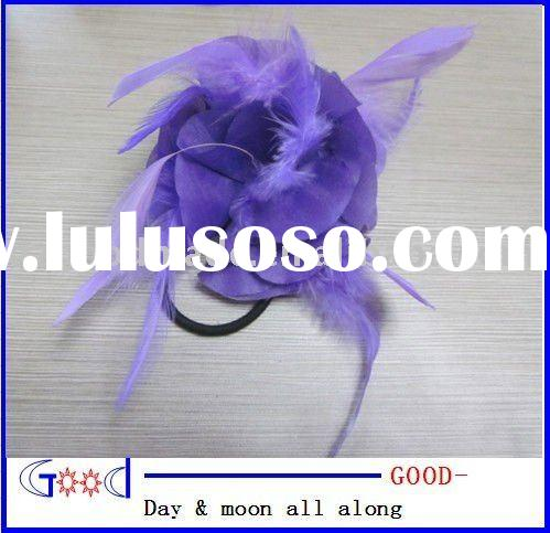 light purple flower hair clip with feathers beautiful