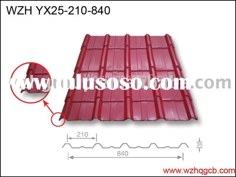 light weight Corrugated Steel sheet roof tile YX25-210-840 exported to Africa,Middleeast,Russia,Lati