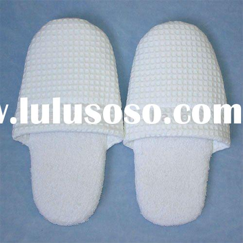 luxury White Cotton waffle slippers(long loop slippers)