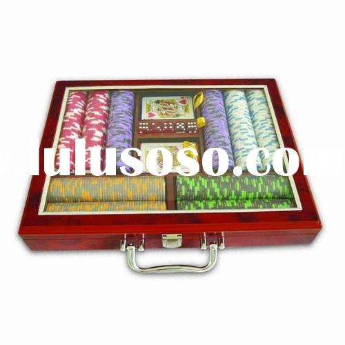 poker chip set 500ocs wooden casino chip set