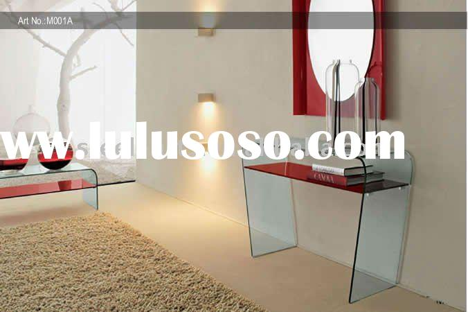 red glass dresser with mirror