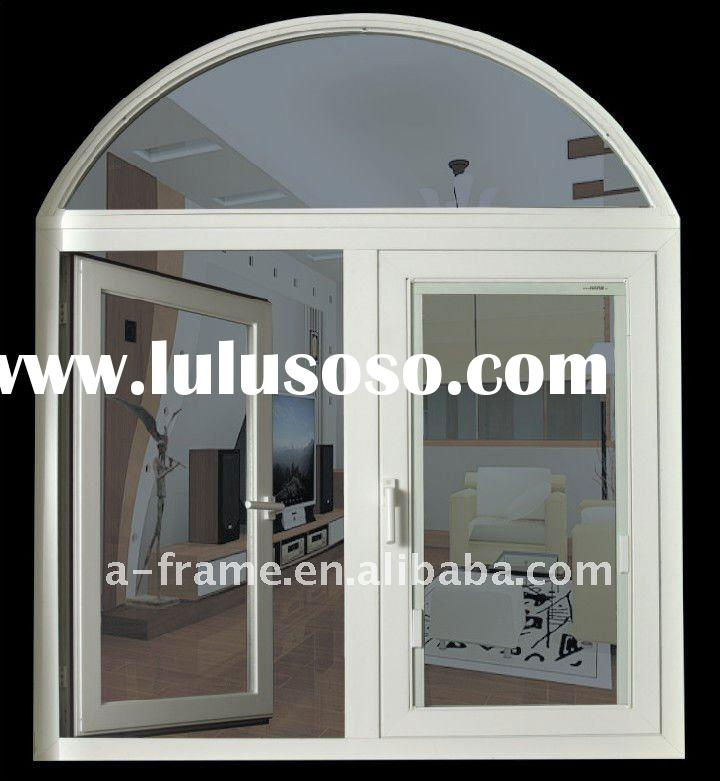 thermal break aluminum casement window with top arched fixed window