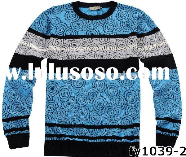 top quality brand cool design men knitted woolen sweater with round collar, warmful and soft handfee