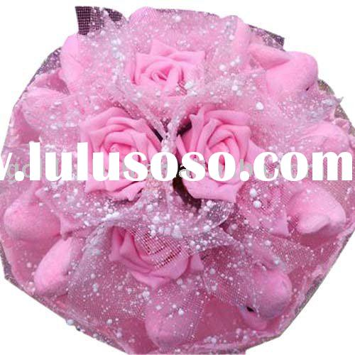 toy bouquet wedding gift valentine's gift with pink rose&dolphin decor