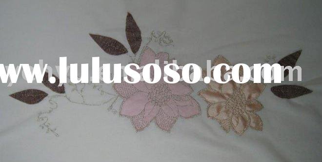 white embroidery fabric with flower applique embroidery decoration