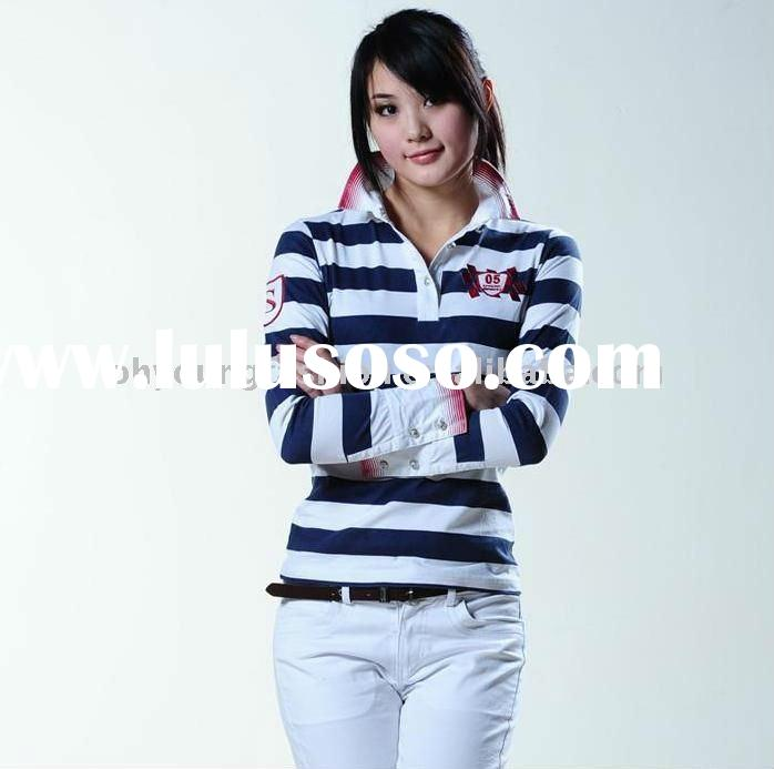 wholesale high quality fashion young ladies 100%cotton/CVC/TC stripe women's long sleeved po