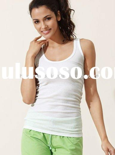 wholesale high quality women's100% pure cotton rib white blank tank top vest