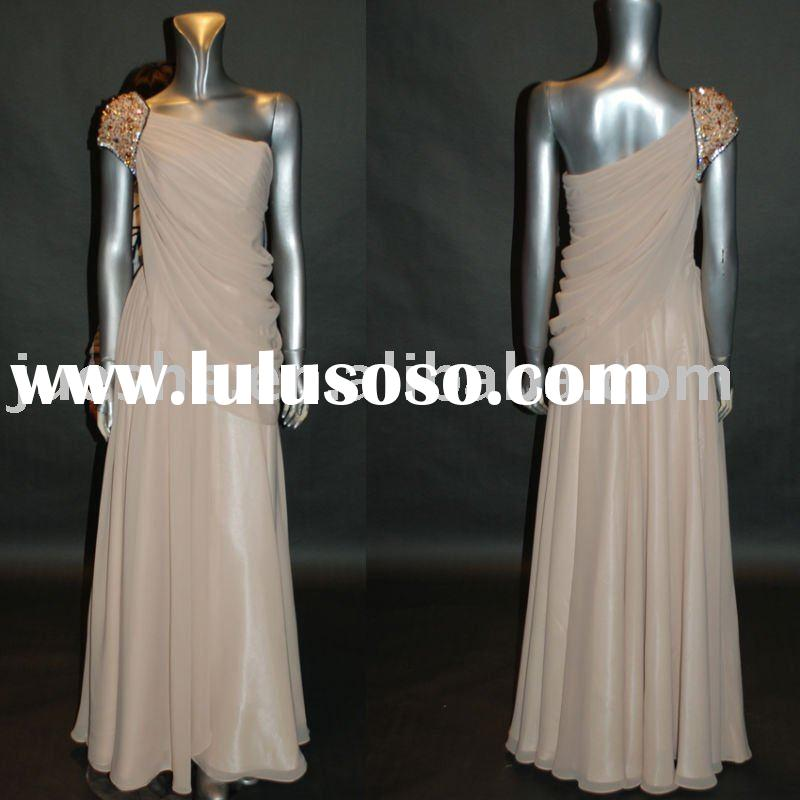 wholesale one shoulder chiffon designer evening dress