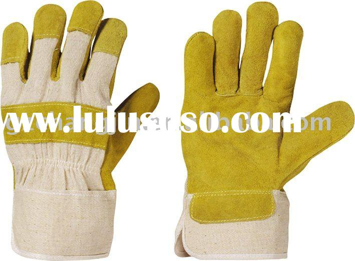 yellow full palm cow split leather glove