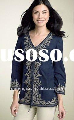 100% cotton long sleeve lady blouses with printing or embroidery