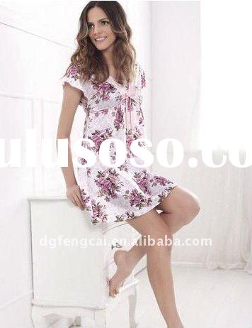 100% cotton popular ladies summer pajamas with printing or embroidery