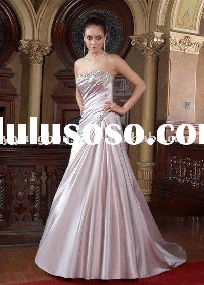 2010 Elegant design silver pink Strapless court train crystal satin bridal gown (1038)