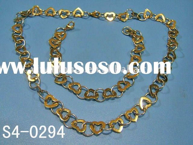 2011 Heart&Ring Necklace and Bracelet 18k gp gold plated fashion jewelry set