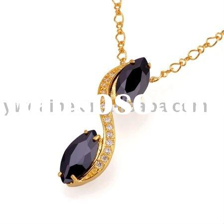 2011 Style Flower Shape Zicon Set 24K Gold Plated Copper Pendant Necklace 117446,Fashion Brass Jewel