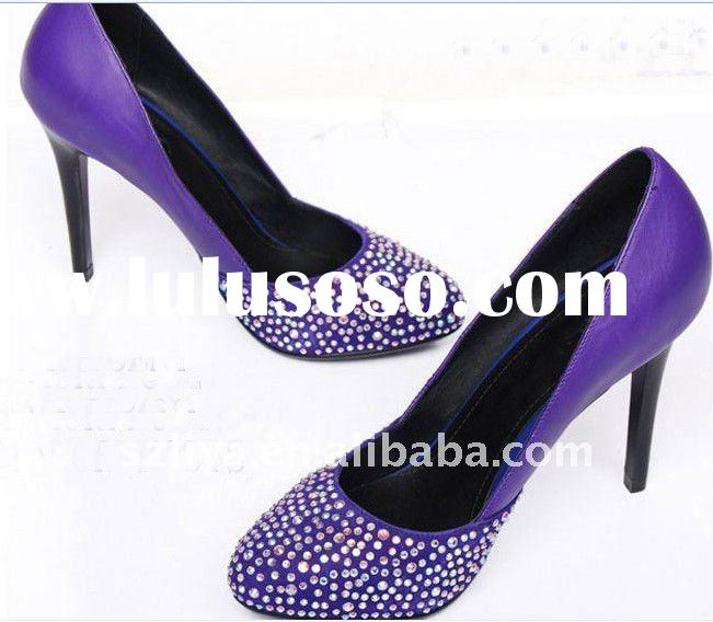 2011 fashion colourful diamond bridal wedding shoes, high heel wedding shoes, engagement shoes XZ056