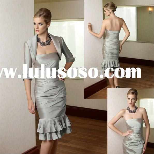 2011 hot sale custom made taffeta mother of the bride jacket dresses 70314