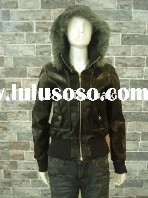2011 ladies hooded leather jacket