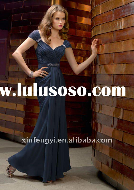2011 new style Elegant sweetheart neckline chiffon long navy blue formal young mother evening dresse