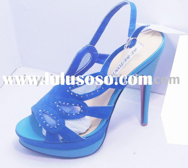 2012 Fashion high heel dress sandals with multicolor leathers