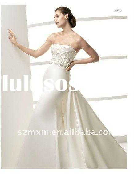 2012 High quality new arrival Fashion Corset Designer Strapless Embroider Satin Sweep length Wedding