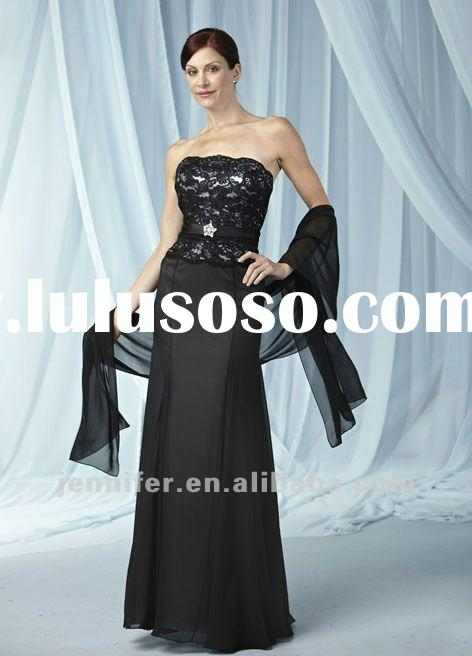 2012 Long black mother of the bride lace dresses (ABB174)