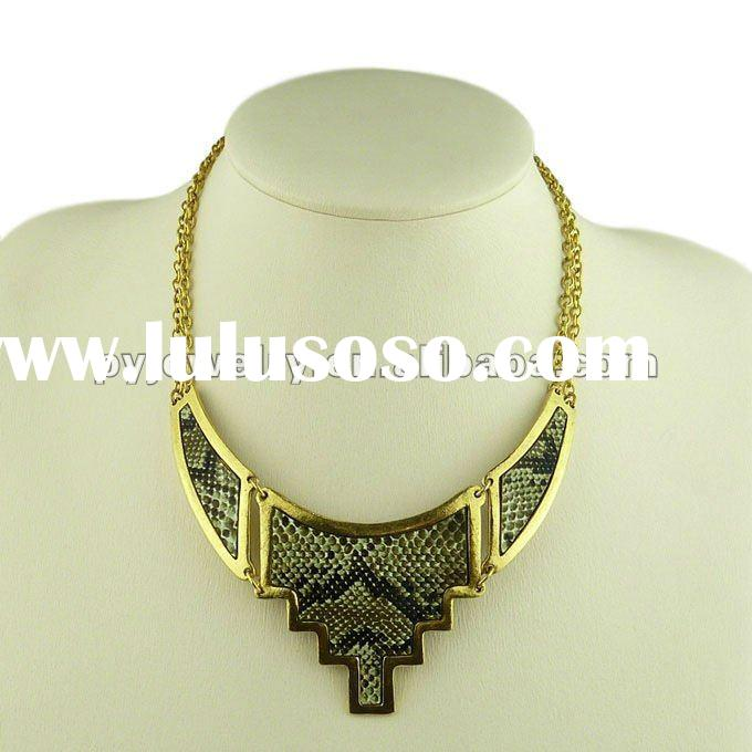 2012 New Cheap Fashion Bijoux Necklace,Gold Plated Imitation Leather Jewelry