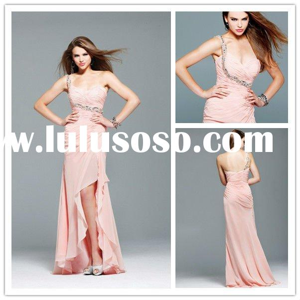 2012 One Shoulder Evening Gown Applique Sheath Chiffon Pleated Floor Length Wholesale Prom Dresses