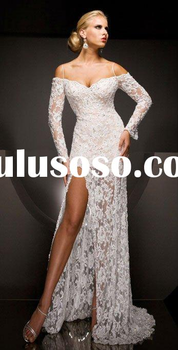2012 long sleeve side slit lace evening gown YS-1307