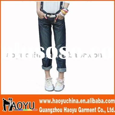 2012 new style fashion cuff young girls' jeans (HY5121)