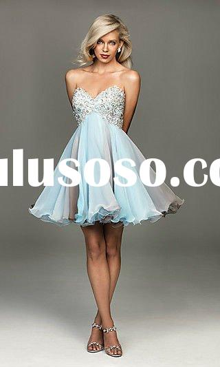 2012 newest Mist and White sequined short summer prom dresses DC-SPD002