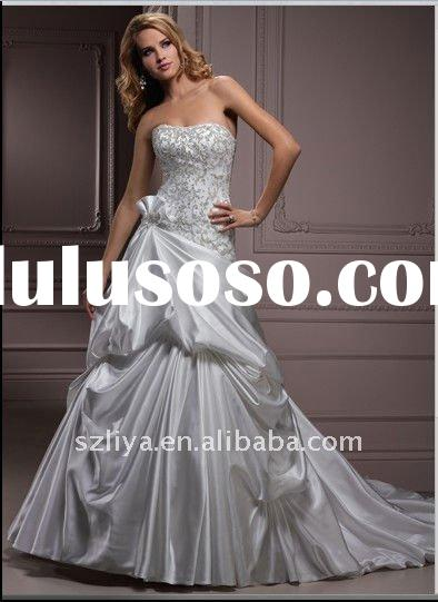 2012 satin crystals embroidered top strapless ruffle wedding dress SHS1905