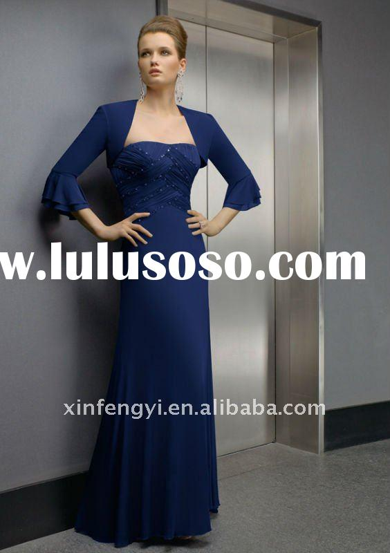 2-piece with jacket, ruched beaded strapless column dark blue chiffon mother of the groom long dress
