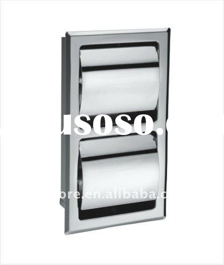 304 stainless steel wall mounted double toliet paper holder with cover-30007