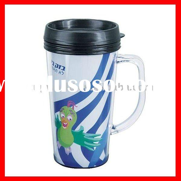 400ml double wall plastic mug with paper insert
