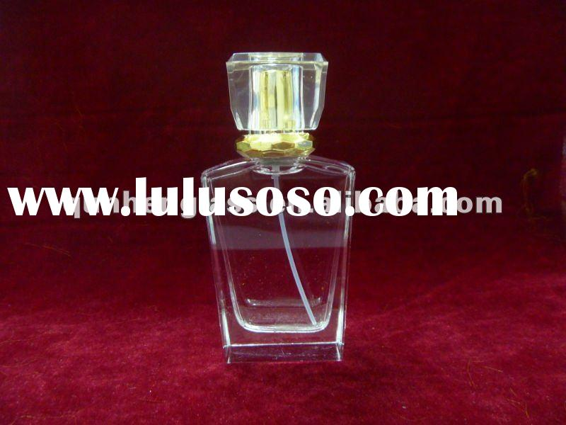 50ml clear glass perfume bottle with spray pump and cap