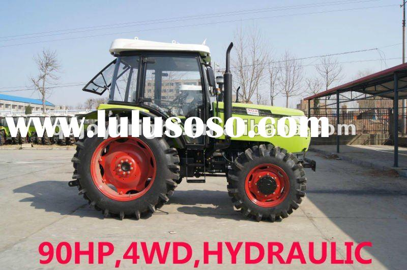 90hp tractor 4wd,12F+4R FIAT shift,hydraulic steering,PTO 540/1000,3points linkage,traction system,f